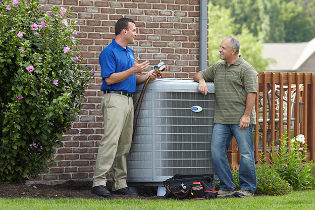 Technician installaing HVAC system in Charlotte NC